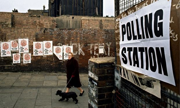 Polling station, London, 1974